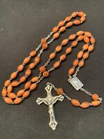 Rosary Olive Wood Bead Silver Tone Crucifix Catholic 59 Beads Vintage