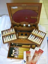 Rare Teak Winsor and Newton Artists' Oil 'Studio Chest' Wooden Box Set