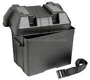 Leisure Battery Box 95 A Small Black + Strap Caravan Boat Motorhome RIB 26x18x22