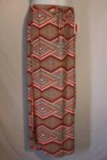 NEW Womens Maxi Skirt Size Small Peach Diamond Print Long Stretch Soft Side Slit