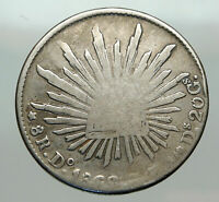 1868 Do CP MEXICO Large Eagle Sun Antique Mexican Silver 8 Reales Coin i85076
