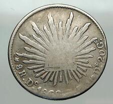 1868 Do CP MEXICO Large Eagle Sun Antique Mexican Silver 8 Reales Coin i85076