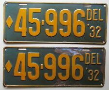 Delaware 1932 License Plate PAIR NICE QUALITY # 45-996