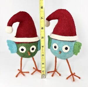 Lot of 2 - Large Felt Owls Christmas Ornaments Blue & Green - Very Cute! NEW