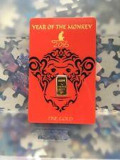 "24K 1 Gram Fine Gold Bar .999 ""YEAR OF THE MONKEY 2016"" Factory sealed Rare"
