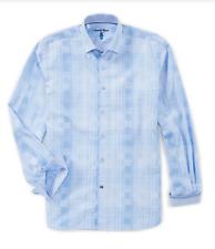 ViscontiBasketweave Long-Sleeve Woven Shirt, Blue/White, S