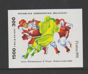 Malagasy - 1991, Winter Olympic Games, Ice Hockey sheet - Imperf -MNH - SG MS869