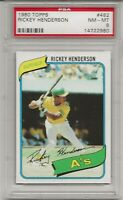 1980 TOPPS #482 RICKEY HENDERSON ROOKIE , PSA 8 NM, HOF, OAKLAND ATHLETICS, L@@K