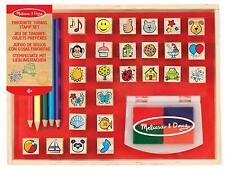 MELISSA & DOUG KIDS WOODEN FAVOURITE THINGS STAMP SET PENCIL & INK PAD NEW 4+