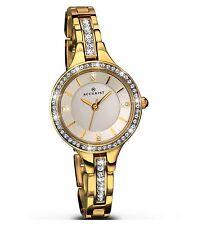 Accurist Ladies Crystal Set White Dial Gold Bracelet Designer Watch 8056