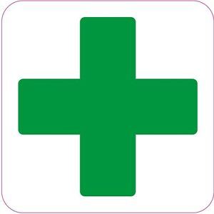 FIRST AID CROSS Square health safety signs Sticker green cross 6 x 100 x 100 mm