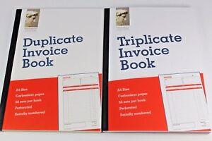 A5 OR A4 CARBONLESS DUPLICATE OR TRIPLICATE INVOICE BOOKS. 50 LEONARDO NCR SETS.