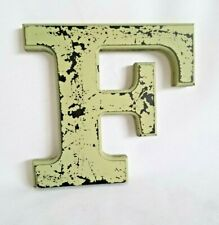 Wood Letter F Decorative Wall Decor Distressed Chippy Sage Green