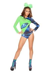 sexy ROMA romper ALIEN babe OUTER SPACE invader galaxy HALLOWEEN party COSTUME