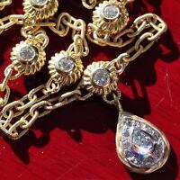 "18k yellow gold 3.30ct diamond 16.0"" dangle necklace Italian handmade 18.9gr"
