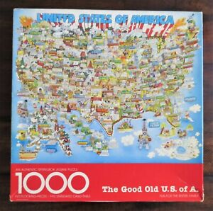The Good Old U.S. of A. United States Map 1000 Piece Puzzle Springbok Vintage