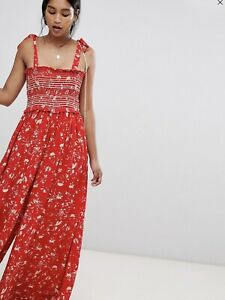 Free People White Red Women's Small S Color My World Floral Jumpsuit