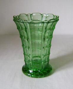 Art Deco Period Green Pressed Glass Celery Vase 16.5 cm high