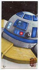 2009 Topps Star Wars Clone Wars Widevision Sketch R2-D2 by Rhiannon Owens