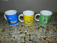 M&M's Candy 3 Coffee Mugs Blue Green Yellow