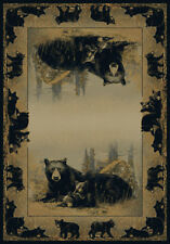 """BEAR family RUSTIC cabin 2x8 area rug SOUTHWEST runner: Actual Size 1'11""""x7'4"""""""