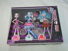 Monster High 3 Doll Set Ghoulia Abbey & Draculaura Dot Dead Gorgeous NIB