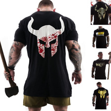 Viking Spartan Helmet T-Shirt Men's Workout Gym Fitness Bodybuilding Muscle Top