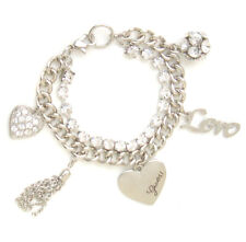 Guess Bracelet Silver Crystal G Charm Heart Logo Gift Jewelry