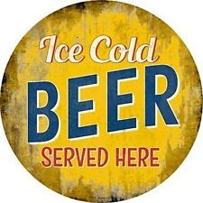 "Ice Cold Beer Served Here 12"" Round Metal Sign Novelty Retro Home Bar Wall Decor"