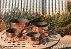 Set of 4 Hammered Copper Sauce Pans, 3 mm, tin lined & cast iron, Made in France