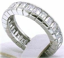 5.25 ct Emerald cut Diamond Ring 14k Gold Eternity Band Size 5.5 F Vs1, 0.25 ct
