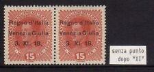 Occupazione Italiana VENEZIA GIULIA 1918 Soprastampato 2x15h MNH** VARIETA'
