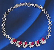 18k 18ct White Gold GF red corudum flora CZ Chain woman BL-A209