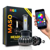 2x H7 72W RGB LED Headlight Bulb Drive Fog Light Lamp Kit Phone App Control UK