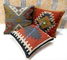 3 Pcs Throw Pillow Outdoor Wool Jute Handwoven Killim Abstract Cushion Case Sofa