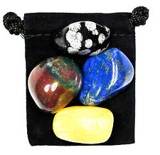MENTAL RELAXATION Tumbled Crystal Healing Set = 4 Stones + Pouch + Card