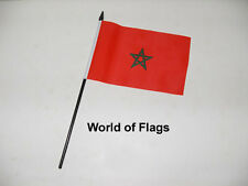 "MOROCCO SMALL HAND WAVING FLAG 6"" x 4"" Moroccan Africa Crafts Table Desk Display"