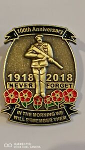Collectable British Military 100th Anniversary 1918-2018 Remembrance pin badge