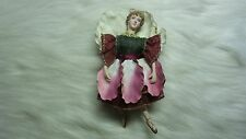 "7"" Christmas Ballerina Ornament Doll with Porcelain Head Legs & Arms"