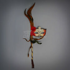 Handheld Stick Venetian Masquerade Mask for Women Red Ivory M31037