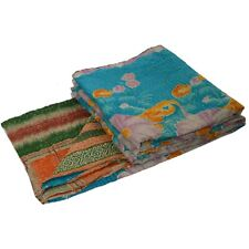 Tcw  Vintage Reversible Gudari Kantha Cotton Full Throw Bedspread Handmade
