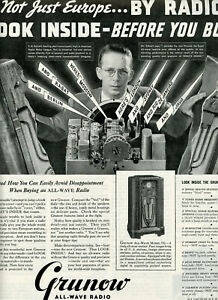 1934 Vintage Orig GRUNOW RADIO All-Wave Model 751 Big Page Ad. FH Schnell Expert