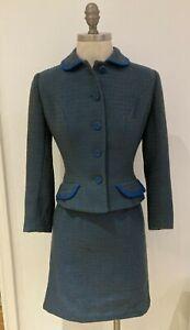 "1950s/1960s Blue Wool Skirt Suit - 18"" armpit to armpit, Waist 12"" across approx"