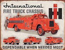 International Harvester Fire Truck TIN SIGN Metal Station Wall Poster Fireman