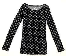 RUE21 Women's T-Shirt Blouse Long Sleeve Black Cross Medium *FREE SHIPPING* A33