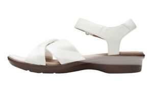 Clarks Women's Loomis Chloe Cross Strap Sandal 7.5W,8W & 8M White New