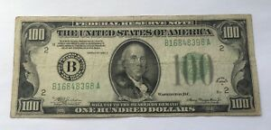 1934 A $100 DOLLAR BILL FEDERAL RESERVE NOTE U.S CURRENCY
