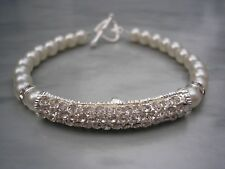Pearl and Crystal Rhinestone Bar Bracelet Ladies Girls Bracelets for women