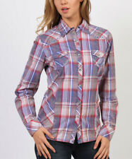 Plaid Shirt Size 10 Blue Cotton Ladies Womens Snap Button Western Style