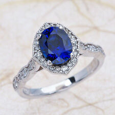 1.35CT Vintage Floral Blue Sapphire & Diamond Engagement Ring in 14k White Gold!